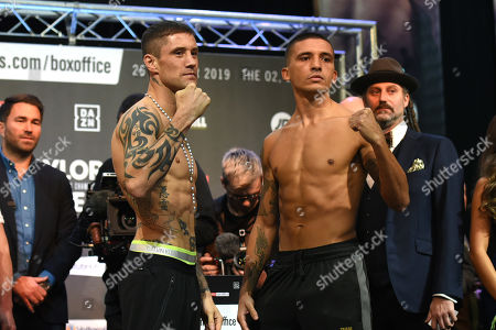 Lee Selby (R) and Ricky Burns during a Weigh-In at East Wintergarden on 25th October 2019