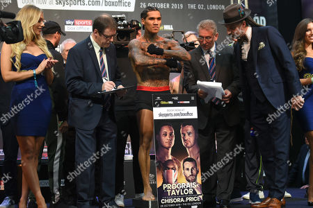 Conor Benn on the scales during a Weigh-In at East Wintergarden on 25th October 2019