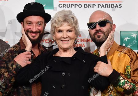 Caterina Caselli (C) with members of the Italian band Negramaro, Danilo Tasco (L) and Giuliano Sangiorgi, pose during the photocall for the movie 'Negramaro. L'anima vista da qui ' at the 14th annual Rome Film Festival, in Rome, Italy, 25 October 2019. The film festival runs from 17 to 27 October.