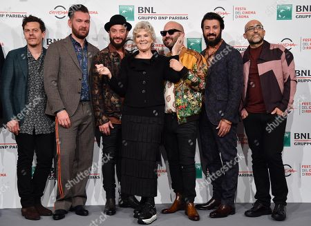 Caterina Caselli (C) poses with the Italian band Negramaro, Ermanno Carla', Andrea Mariano, Danilo Tasco, Giuliano Sangiorgi, Emanuele Spedicato and Andrea De Rocco, during the photocall for the movie 'Negramaro. L'anima vista da qui ' at the 14th annual Rome Film Festival, in Rome, Italy, 25 October 2019. The film festival runs from 17 to 27 October.