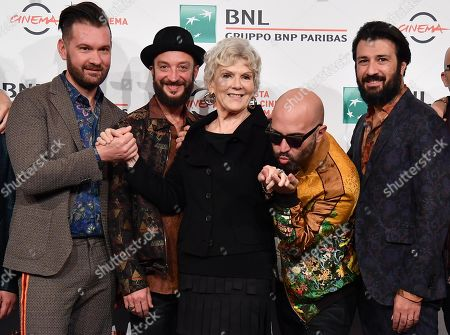 Caterina Caselli (C) with members of the Italian band Negramaro, Andrea Mariano, Danilo Tasco, Giuliano Sangiorgi and Emanuele Spedicato, pose during the photocall for the movie 'Negramaro. L'anima vista da qui ' at the 14th annual Rome Film Festival, in Rome, Italy, 25 October 2019. The film festival runs from 17 to 27 October.