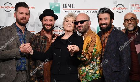 Caterina Caselli (3-L) poses with members of the Italian band Negramaro, Andrea Mariano, Danilo Tasco, Giuliano Sangiorgi, Emanuele Spedicato and Andrea De Rocco, during the photocall for the movie 'Negramaro. L'anima vista da qui ' at the 14th annual Rome Film Festival, in Rome, Italy, 25 October 2019. The film festival runs from 17 to 27 October.