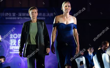 Demi Schuurs of the Netherlands & Anna-Lena Groenefeld of Germany during the draw gala