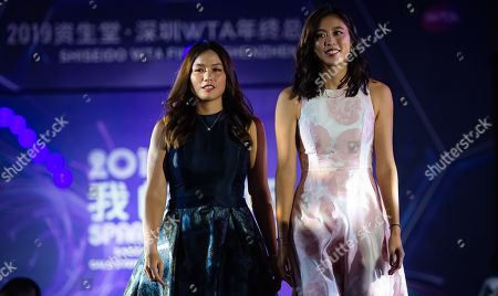 Chan Hao-ching and Latisha Chan of Chinese Taipeh during the draw gala