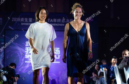 Zhang Shuai of China and Samantha Stosur of Australia during the draw gala