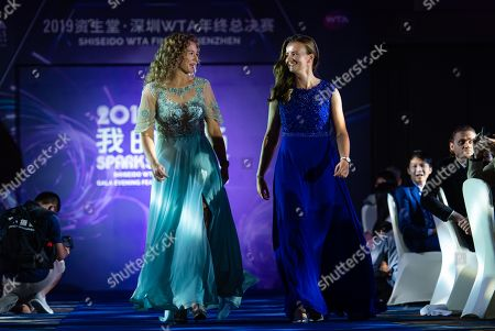 Katerina Siniakova and Barbora Krejcikova of the Czech Republic during the draw gala