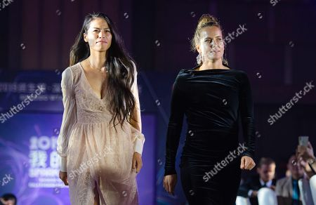 Hsieh Su-Wei of Chinese Taipeh & Barbora Strycova of the Czech Republic during the draw gala