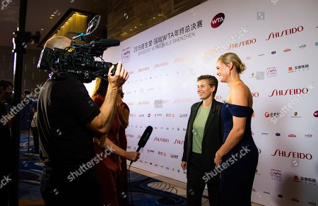 Stock Photo of Demi Schuurs of the Netherlands & Anna-Lena Groenefeld of Germany on the red carpet before the draw gala