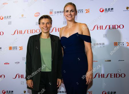Stock Image of Demi Schuurs of the Netherlands & Anna-Lena Groenefeld of Germany on the red carpet before the draw gala