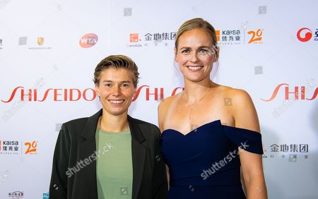 Stock Picture of Demi Schuurs of the Netherlands & Anna-Lena Groenefeld of Germany on the red carpet before the draw gala