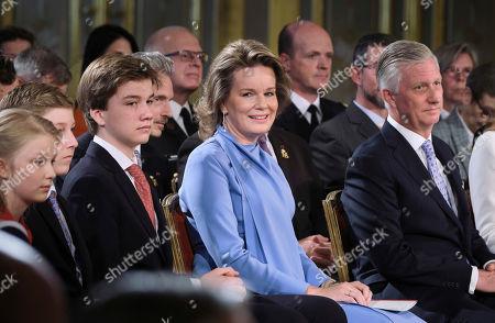 Prince Gabriel, Queen Mathilde, King Philippe