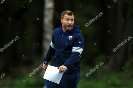 LA Rams Head Coach Sean McVay takes part in an NFL training session at the Grove Hotel in Chandler's Cross, Watford, England, . The LA Rams are preparing for an NFL regular season game against the Cincinnati Bengals in London on upcoming Sunday