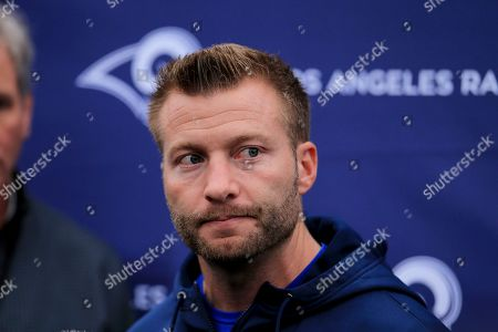 LA Rams head coach Sean McVay takes part in the press conference during the NFL training session at the Grove Hotel in Chandler's Cross, Watford, England, . The LA Rams are preparing for an NFL regular season game against the Cincinnati Bengals in London on Sunday