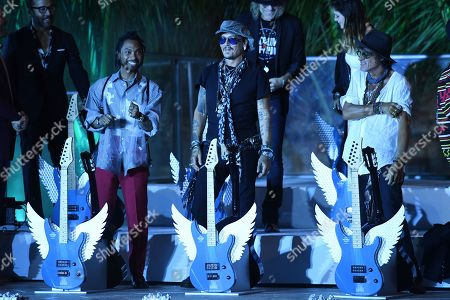 Miguel, Johnny Depp and Joe Perry