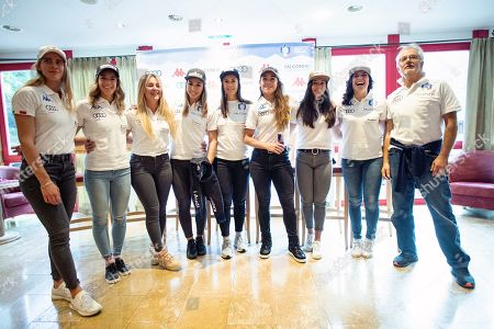 Stock Photo of (L-R) Roberta Midali, Marta Bassino, Roberta Melesi, Francesca Marsaglia, Irene Curtoni, Sofia Goggia, Karoline Pichler, Federica Brignone and a staff member of Italy during a press event of the FIS Alpine Skiing World Cup in Soelden, Austria, 25 October 2019. The Alpine Skiing World Cup season 2019/2020 will be traditionally opened with Giant Slalom races on 26 and 27 October 2019 in Soelden.