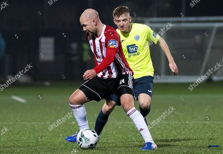 Derry City's Grant Gillespie and Finn Harps' Stephen Doherty