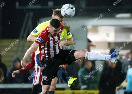 Derry City's David Parkhouse and Finn Harps' Daniel O'Reilly