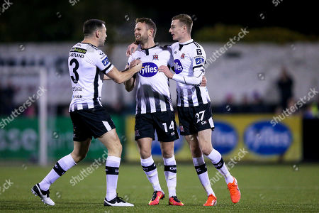 Dundalk vs St. Patrick's Athletic. Dundalk's Dane Massey celebrates scoring a goal with Brian Gartland and Daniel Kelly