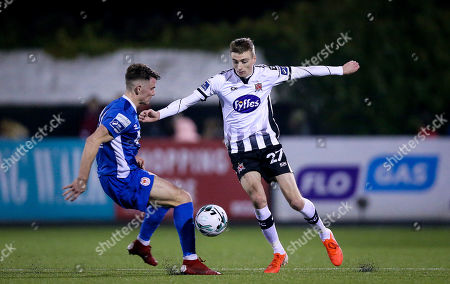 Dundalk vs St. Patrick's Athletic. Dundalk's Daniel Kelly with Dean Clarke St. Patrick's