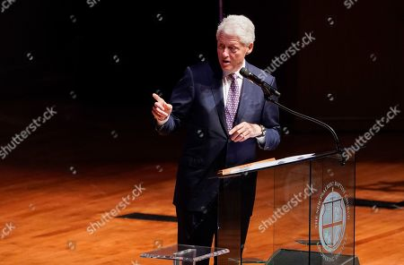 Former U.S. President Bill Clinton speaks during funeral services for late U.S. Rep. Elijah Cummings (D-MD) at the New Psalmist Baptist Church in Baltimore, Maryland, U.S
