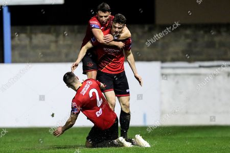 Drogheda United vs Cabinteely. Drogheda's Luke McNally celebrates scoring a goal with Chris Lyons and James Brown