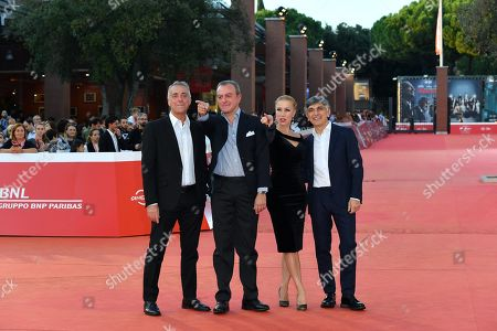 Stock Image of Vincenzo Salemme, Nancy Brilli, Massimo Ghini and Giampaolo Letta