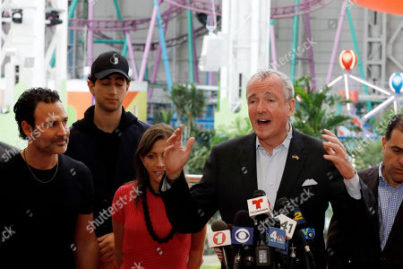 Stock Image of Don Ghermezian, Phil Murphy. New Jersey Gov. Phil Murphy, right, speaks to the press, as Triple 5 CEO Don Ghermezian, left, listens at the American Dream mega entertainment and shopping complex in East Rutherford, N.J.,. After endless fits and starts and billions of dollars spent, American Dream is officially opening its doors to the public as the second largest mall in the country, and third largest in North America