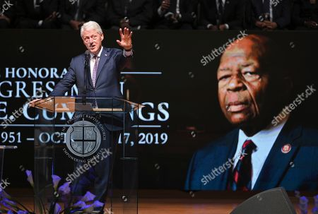 Elijah Cummings Funeral. Former Preisdent Bill Clinton speaks at the funeral service for Rep. Elijah Cummings, D-Md., at the New Psalmist Baptist Church in Baltimore, Md., on