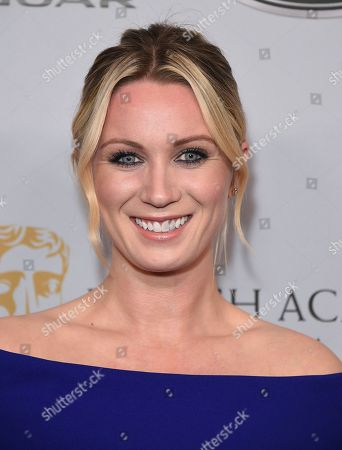 Lara Clear arrives at the BAFTA Los Angeles Britannia Awards at the Beverly Hilton Hotel, in Beverly Hills, Calif