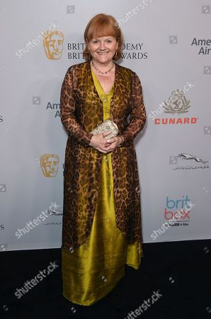 Lesley Nicol arrives at the BAFTA Los Angeles Britannia Awards at the Beverly Hilton Hotel, in Beverly Hills, Calif