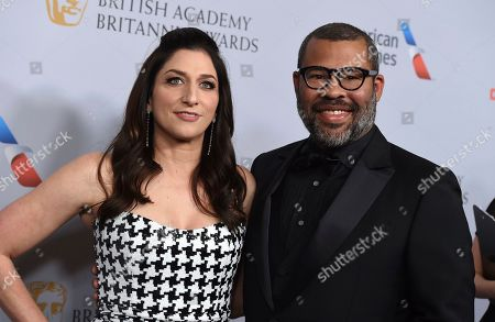 Chelsea Peretti, Jordan Peele. Chelsea Peretti, left, and Jordan Peele arrive at the BAFTA Los Angeles Britannia Awards at the Beverly Hilton Hotel, in Beverly Hills, Calif