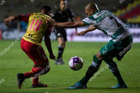 Stock Picture of Edison Flores (L) of Monarcas in action against Doria (R) of Santos Laguna during the Apertura Tournament (Liga MX) soccer match at Morelos stadium, in Morelia, Mexico, 25 October 2019.