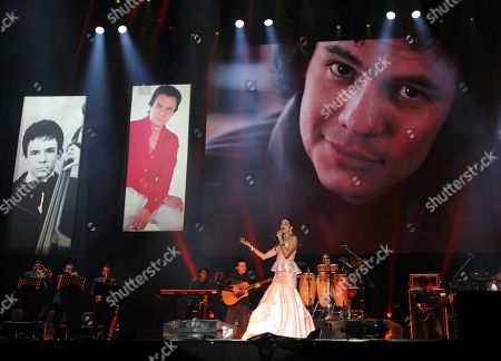 Natalia Jimenez performs during a concert held in tribute to the late singer Jose Jose, in Mexico City, Mexico, 25 October 2019.