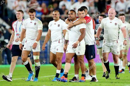 England vs New Zealand. England's Henry Slade, Jonathan Joseph, Kyle Sinckler and Dan Cole celebrate after the game