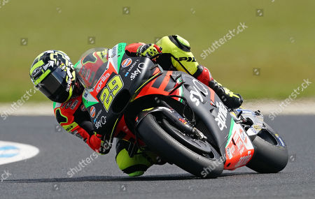 Italian rider Andrea Iannone of Aprilia Racing Team Gresini in action during Free Practice 4 on day two of the 2019 Australian Motorcycle Grand Prix on Phillip Island in Victoria, Australia, 26 October 2019.