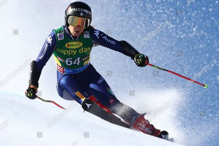 Italy's Sofia Goggia competes during an alpine ski, women's World Cup giant slalom in Soelden, Austria