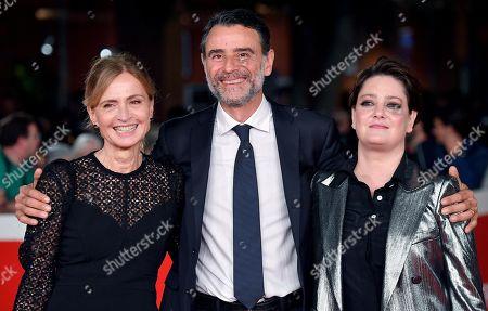 Cristina Comencini (L) with Italian actors Vincenzo Amato (C) and Giovanna Mezzogiorno arrive for the screening of 'Tornare' at the 14th annual Rome Film Festival, in Rome, Italy, 26 October 2019. The film festival runs from 17 to 27 October.