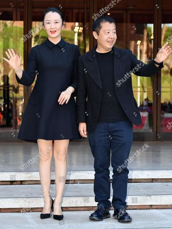 Zhao Tao (L) and Chinese director Jia Zhangke (R) wave upon their arrival for an event within the 14th annual Rome Film Festival, in Rome, Italy, 26 October 2019. The film festival runs from 17 to 27 October.