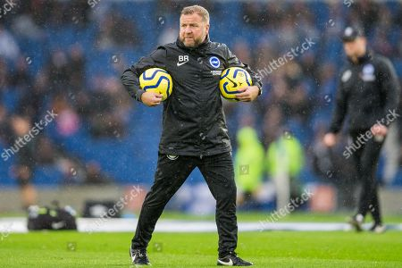 Ben Roberts, Goalkeeping Coach of Brighton & Hove Albion FC during the warm up ahead of the Premier League match between Brighton and Hove Albion and Everton at the American Express Community Stadium, Brighton and Hove