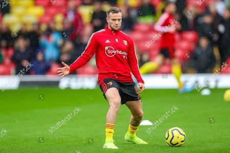 Watford midfielder Tom Cleverley (8) warms up during the Premier League match between Watford and Bournemouth at Vicarage Road, Watford