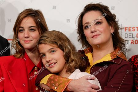 """From left, actress Beatrice Granno, Clelia Rossi Marcelli and Giovanna Mezzogiorno pose during a Photo Call for the movie """"Tornare"""", at the Rome Film Fest, in Rome"""