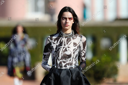 A model presents a creation by Portuguese designers Marta Marques and Paulo Almeida for their Marques'Almeida label during the Portugal Fashion show in Porto, Portugal, 26 October 2019. Spring/Summer 2020 collections are presented at the 45th Portugal Fashion until 26 October 2019.