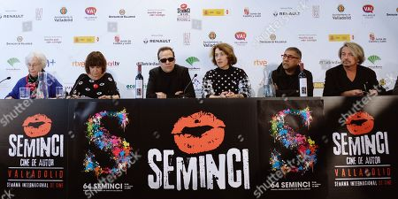 Stock Photo of The jury members (from left) Josefina Molina, Rosa Montero, Philippe Lesage, Keti Machavariani, Dilip Mehta and Thierry Forte announces the name of the winning films of the 64th SEMINCI International Film Festival, in Valladolid, northern Spain, 26 October 2019.