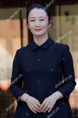 Stock Picture of Actress Zhao Tao poses during a red carpet, at the Rome Film Fest, in Rome