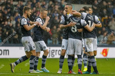GOAL 1-0 Millwall midfielder Ben Thompson (8) scores and celebrates during the EFL Sky Bet Championship match between Millwall and Stoke City at The Den, London