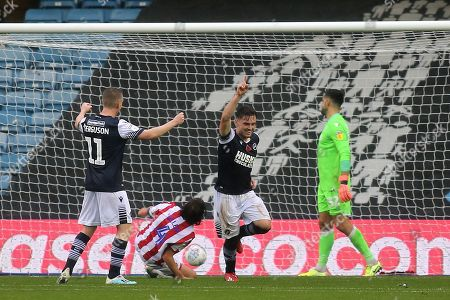 Ben Thompson celebrates scoring Millwall's opening goal during Millwall vs Stoke City, Sky Bet EFL Championship Football at The Den on 26th October 2019