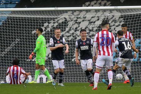 Ben Thompson (No 8) celebrates scoring Millwall's opening goal during Millwall vs Stoke City, Sky Bet EFL Championship Football at The Den on 26th October 2019