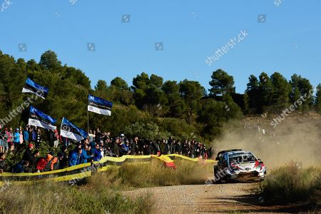 Stock Photo of Jari- Matti Latvala of Finland drives his Toyota Yaris WRC during day 1 of Rally Spain in Salou, Spain, 25 October 2019.