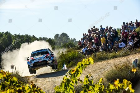 Jari- Matti Latvala of Finland drives his Toyota Yaris WRC during day 1 of Rally Spain in Salou, Spain, 25 October 2019.