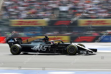 French Formula One driver Romain Grosjean of Haas team competes during the Mexican Grand Prix at the Hermanos Rodriguez Racetrack in Mexico City, Mexico, 27 October 2019.